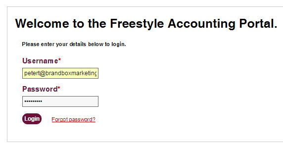 Logging In - Online Portal - Freestyle Accounting